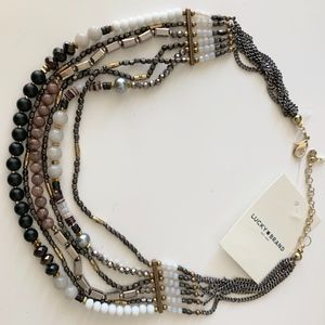 Lucky Brand Gold Beaded Statement Necklace NWT
